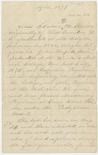 Letter with introduction by Adaline Kelsey, Class of 1868, describing her first six months as a missionary physican in China, from October 30, 1878, until April, 1879