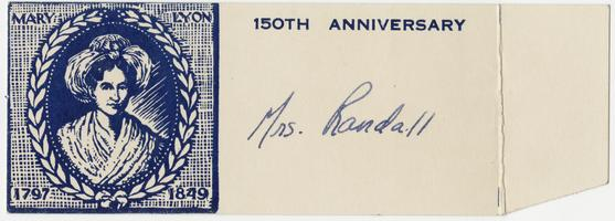 Celebration of the 150th anniversary of the birth of Mary Lyon, place name card for Mrs. Randall