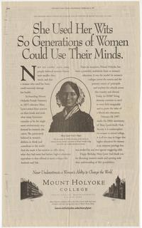 She Used Her Wits So Generations of Women Could Use Their Minds, full-page advertisement from the New York Times, February 5, 1997