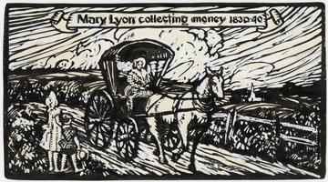 Mary Lyon collecting money 1830-40, modern print commemorating the birthday of Mary Lyon