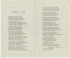 Mary Lyon, poem written by Elizabeth F. Merrill, Class of 1868, for the Mary Lyon Breakfast, October 15, 1898