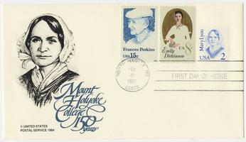 United States Postal Service postcard commemorating the 150th anniversary of the founding of Mount Holyoke, with first issue stamps honoring Frances Perkins, Emily Dickinson, and Mary Lyon