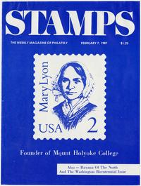 Stamps, The Weekly Magazine of Philately, February 7, 1987 issue, cover featuring the 2-cent Mary Lyon United States postage stamp