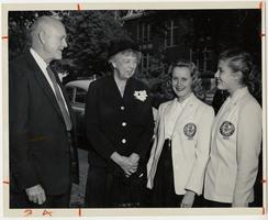 Mrs. Eleanor Roosevelt on a visit to Mount Holyoke during the fall of 1952, flanked by University of Massachusetts President Ralph Van Meter and two students, Joan Anderson '53 and Barbara Wolins '53