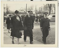 First Lady Eleanor Roosevelt with members of the Naval Training School during a visit to Mount Holyoke, with Williston Observatory in the background
