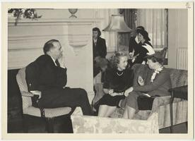 First Lady Eleanor Roosevelt during a visit to Mount Holyoke, with President Roswell G. Ham in foreground and economics professor Ethel Barbara Dietrich in left background