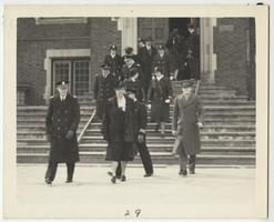 First Lady Eleanor Roosevelt and members of the Naval Training School leaving Skinner Hall