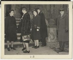 First Lady Eleanor Roosevelt speaking with members of the Naval Training School outside Rockefeller Hall