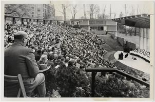 "The Reverend Martin Luther King, Jr., delivering his sermon, ""The Three Dimensions of a Complete Life,"" at a church service in the amphitheater"