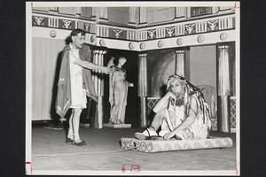 "President Roswell Gray Ham (right) and French department professor Paul Saintonge acting in ""Odysseus,"" the 1952 Faculty Show"