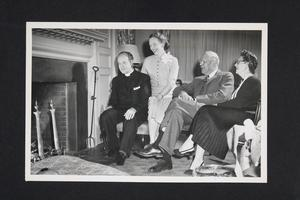 Group with, l-r, visiting speaker Rev. Edward L. R. Elson, minister of National Presbyterian Church in Washington, DC; Mrs. Elson, and President and Mrs. Roswell Gray Ham