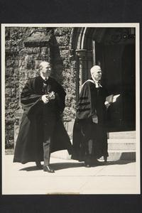 President Roswell Gray Ham (left) in academic robes