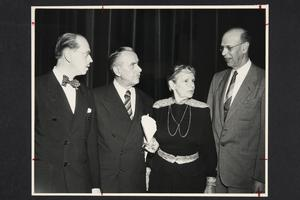 President Roswell Gray Ham (right) in conversation with, l-r, Joachim Maass, Dr. Thomas Mann, and Mrs. Mann