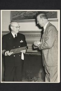 Presentation of Navy plaque to the College, with President Roswell Gray Ham on right