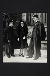 President and Mrs. Roswell Gray Ham standing with Dr. Hu Shih, the Chinese Ambassador