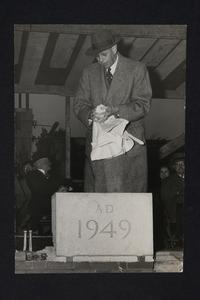 President Roswell Gray Ham at the laying of the cornerstone for Kendall Hall