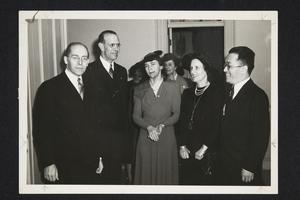 Group including, l-r, President Herbert Davis of Smith College, President Roswell Gray Ham, Mrs. Smith, Mrs. Ham, and Dr. Hu Shih, the Chinese Ambassador