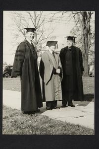 President Roswell Gray Ham with, l-r, Smith College ex-President William Neilson and Mount Holyoke Board of Trustees President, Frederick May Eliot