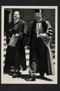 President Roswell Gray Ham (right) in academic robes