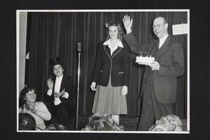 Celebration of President Roswell Gray Ham's birthday during a student fund drive, with Eleanor Mahoney '44 and Mary Stewart