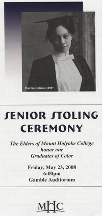 Program from Senior Stoling Ceremony, May 23, 2008