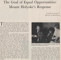 The Goal of Equal Opportunities: Mount Holyoke's Response,' article published in Summer 1968 Mount Holyoke Alumnae Quarterly, written by Clara R. Ludwig, class of 1937, Director of Admissions