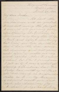 Letter from Mary Otis Spafford to Calvin Preston, father, March 24, 1884