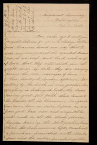 Letter from Mary Otis Spafford to Calvin Preston, father, October 5, 1884
