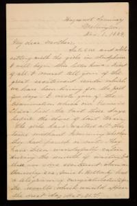 Letter from Mary Otis Spafford to Sarah Montague Moody Preston (Mrs. Calvin Preston), mother, November 1, 1884