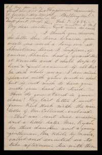 Letter from Mary Otis Spafford to Alice Preston, sister, February 9, 1885
