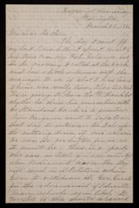 Letter from Mary Otis Spafford to Calvin Preston, father, March 22, 1886