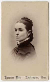 Adaline Kelsey, bust-length 3/4 view studio portrait at the time of her graduation from Mount Holyoke, by Knowlton Bros, Northampton, Mass.