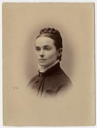 Adaline Kelsey, bust-length 3/4 view studio portrait at the time of her graduation from Mount Holyoke