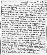 Miss Mary Emma Woolley election announcement