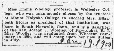 Miss Emma Woolley election announcement