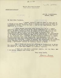 Letter from Virginia Apgar to Helen M. Voorhees