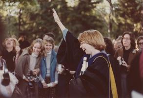 President Elizabeth T. Kennan waving to students at inauguration, 1978