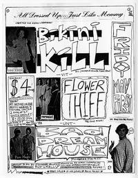 Bikini Kill with Flower Thief and Bad Dream House, announcement for punk rock event at Mount Holyoke sponsored by Pioneer Valley Riot Grrrl