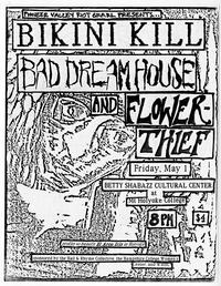 Bikini Kill, Bad Dream House, and Flower Thief, announcement for punk rock event at Mount Holyoke sponsored by Pioneer Valley Riot Grrrl
