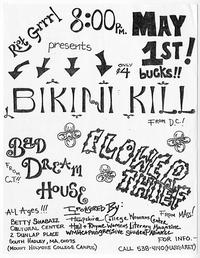 Riot Grrrl presents Bikini Girl, Bad Dream House, and Flower Thief, announcement for punk rock event at Mount Holyoke, sponsored by Pioneer Valley Riot Grrrl