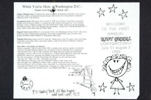 Publicity for the First Annual Riot Grrrl Convention, in Washington, DC, from the Margaret Rooks '96 zine material
