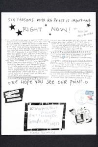Publicity about Riot Grrrl Press, from the Margaret Rooks '96 zine material