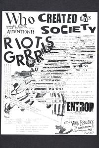 Who Created this Society, publicity for a zine, from Margaret Rooks '96 collection