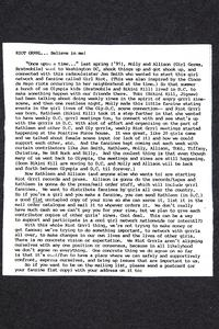Riot Grrrl...Believe in me! account of the formation of the Riot Grrr Movement, from Margaret Rooks '96 zine materials