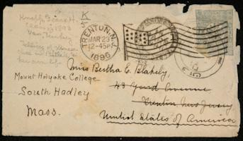 Letter and envelope from Grace H. Knapp '93 to Bertha E. Blakely '93; written in Van, Turkey