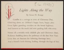 Lights Along the Way, by Grace H. Knapp, Class of 1893
