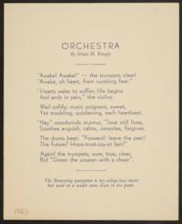 Orchestra, by Grace H. Knapp, Class of 1893