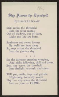"Postcard from Grace H. Knapp '93 to Bertha E. Blakely '93, with poem ""Step Across the Threshold,"" by Miss Knapp"