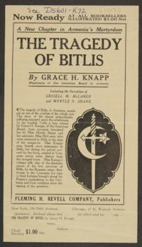 "Announcement of the publication of the book, ""The Tragedy of Bitlis,"" by Grace H. Knapp, Class of 1893"