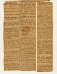 Newspaper Article on the Seminary Building Fire, September 28, 1896